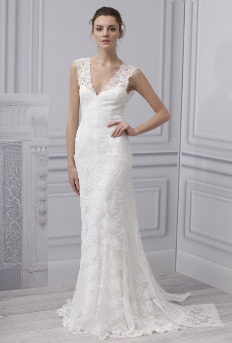 MONIQUE LHUILLIER SS13  Bridal Collection Lace Wedding Dress