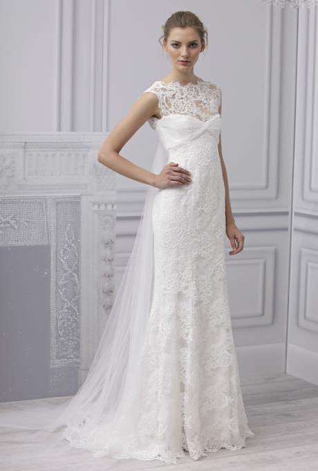 MONIQUE LHUILLIER SS13 Bridal Collection Lace Wedding Dress