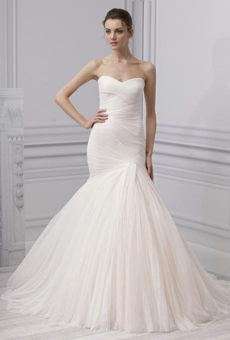 MONIQUE LHUILLIER SS13 Bridal Collection Blush Wedding Dress