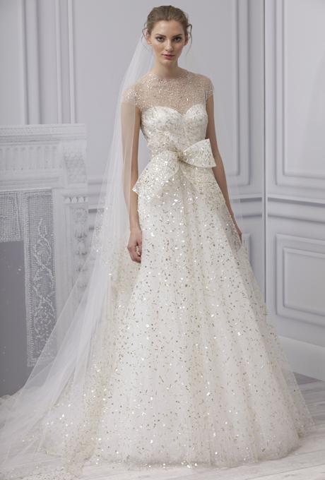 929c6ca2a4 MONIQUE LHUILLIER SS13 Bridal Collection Gold Flecked Wedding Dress