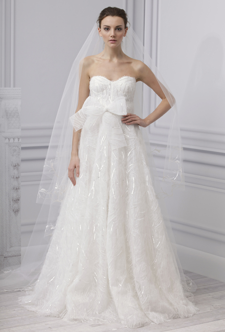 MONIQUE LHUILLIER SS13 Bridal Collection Tulle Wedding Dress