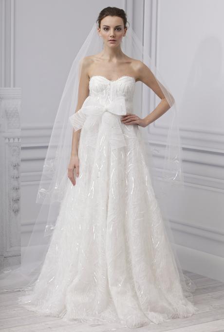 MONIQUE LHUILLIER SS13 Bridal Collection Tulle Wedding Dress