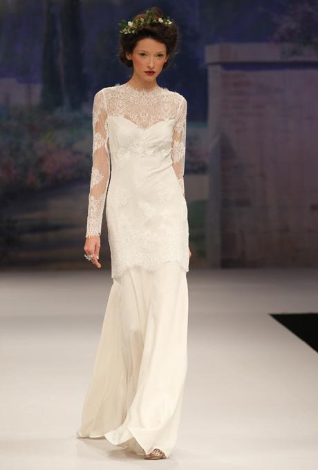 CLAIRE PETTIBONE 2012 Beau Monde Mademoiselle Wedding Dress with Illusion Neckline