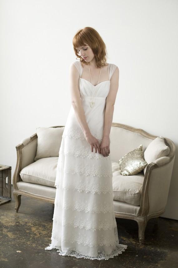 Elizabeth Dye Lace Layered Wedding Dress