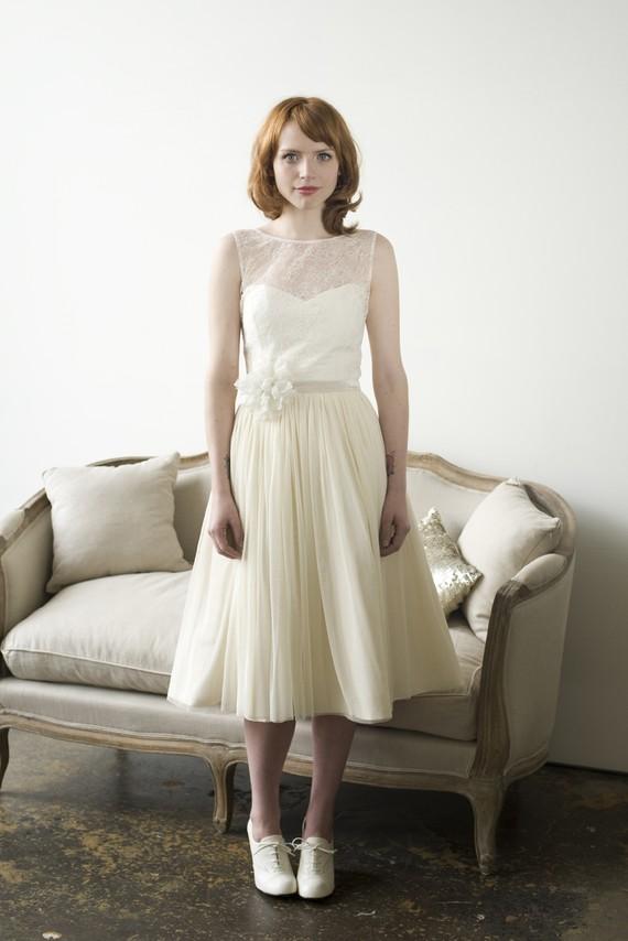 Elizabeth Dye Short Wedding Dress with Illusion neckline