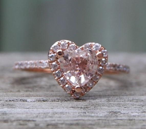 Eidel Precious Heart shaped Peach Sapphire Rose Gold Diamond Ring