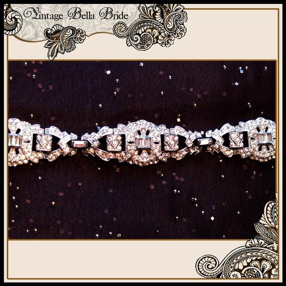 VIntage Bella Bride Art Deco Pave and Baguette Bracelet