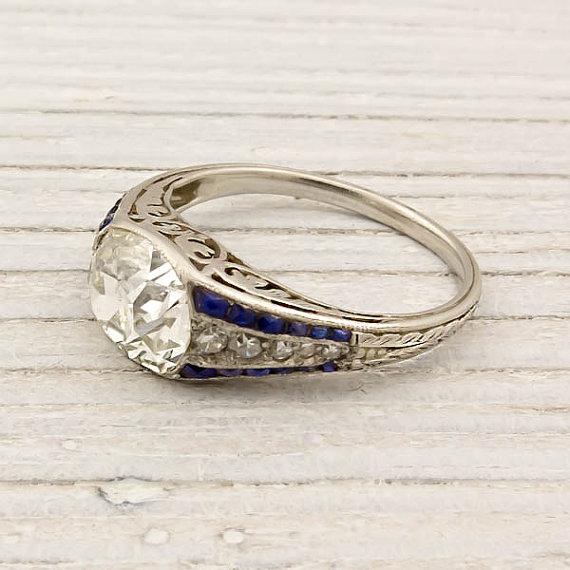 1.79 Carat Old Mine Cushion Cut Diamond Engagement Ring