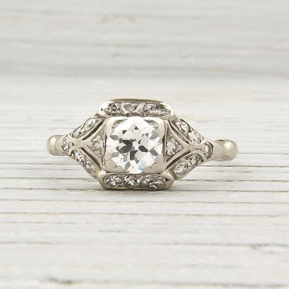Antique .52 Carat Diamond Art Deco Engagement Ring