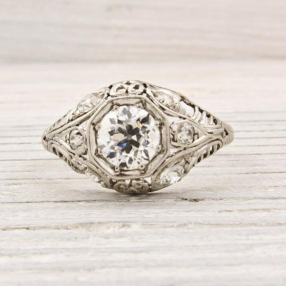 Antique .70 Carat Old European Cut Diamond Engagement Ring
