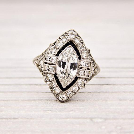 Antique .95 Carat Marquise Diamond Engagement Ring