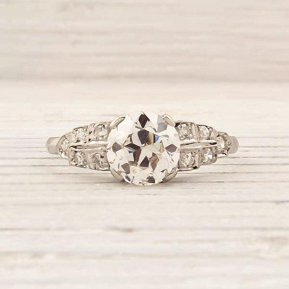 Antique 1.07 Carat Old European Cut Diamond Engagement Ring