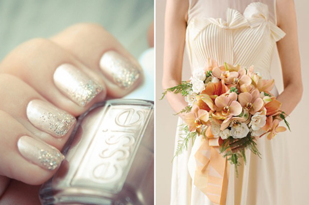 Grey Loves Wedding  nail polish colour matching bouquets