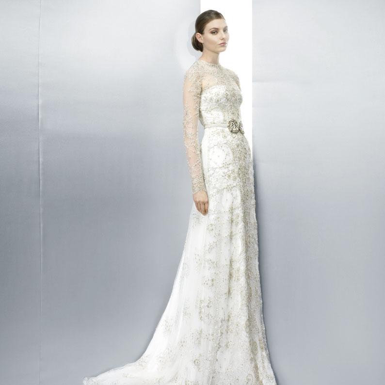 Jesus Peiro 2013 long sleeved, embellished Wedding Dress design 3076