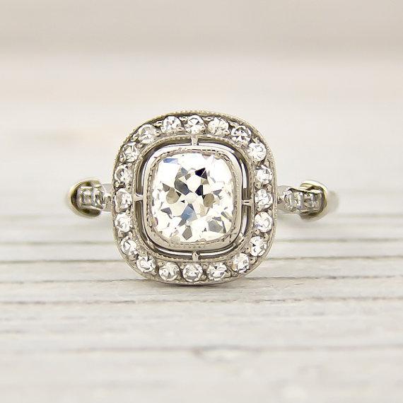 Old Cushion Cut 0.82 Carat Engagement Ring