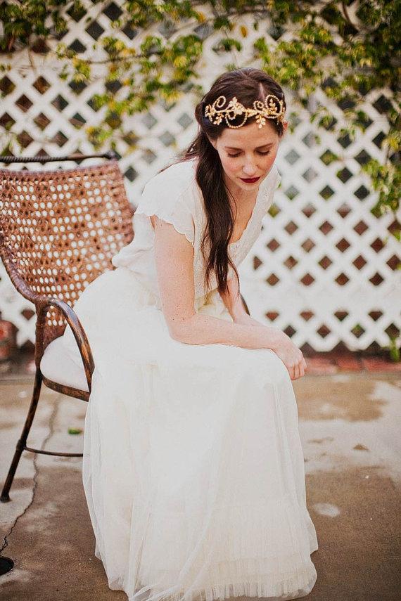 Rhinestone vines, brass leaves and flowers headband from Mignonne Handmade
