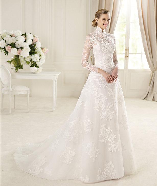 Manuel Mota 2013 Lace Long Sleeved Bridal Dress GABON
