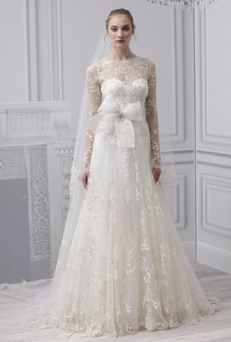 MONIQUE LHUILLIER SS13 Long Sleeved Wedding Dress