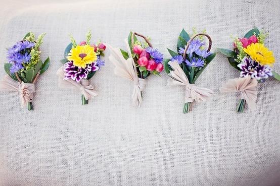 Bright Wild Flower Summer Boutonnieres
