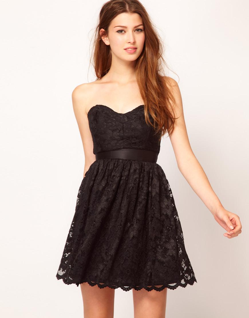 ASOS Black Sweetheart Neck Lace Dress