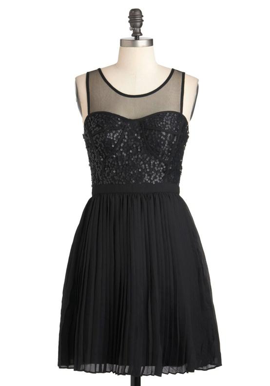Modcloth - Black Illusion Neckline Bridesmaids Dress