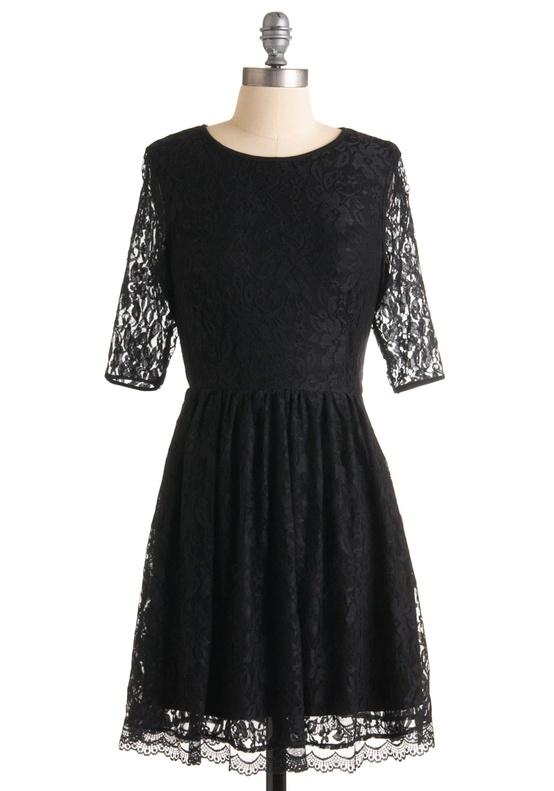 Modcloth - Black Lace Bridesmaids Dress with heart shape cutout back