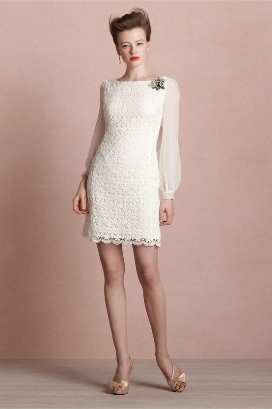 079bb01bc505 BHLDN Short Long Sleeve Ivory Dress - Chic Vintage Brides   Chic ...