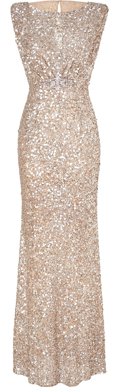 Jenny Packham Blush Sequin Gown