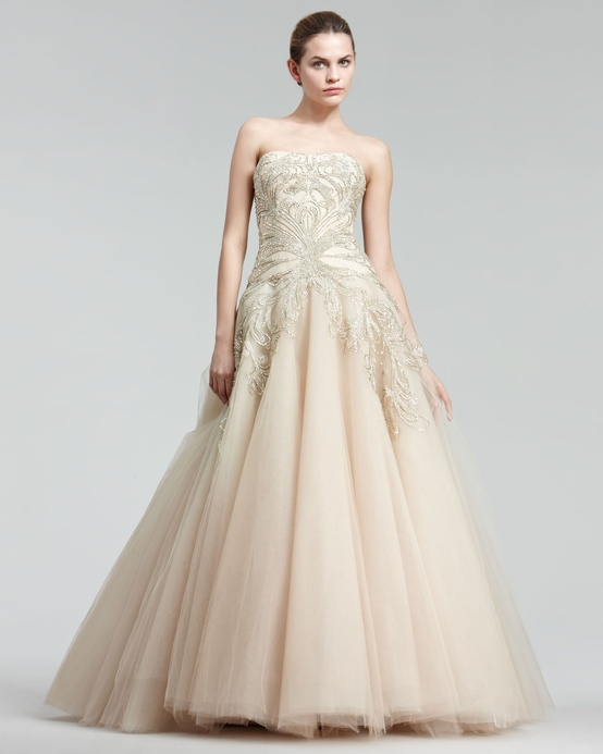 Marchesa Blush Embroidered Princess Gown