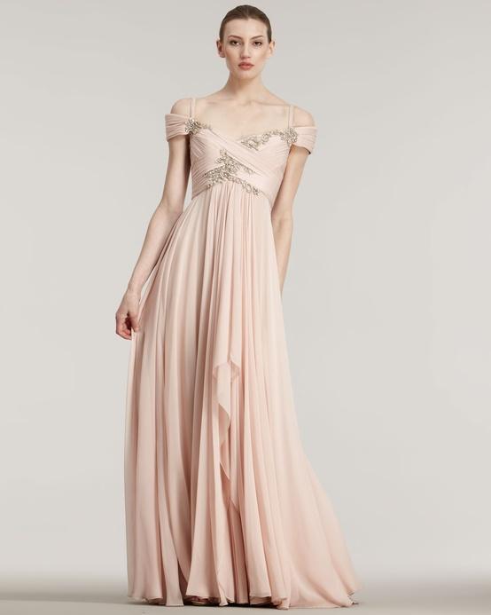 Marchesa Blush Off Shoulder Couture Gown