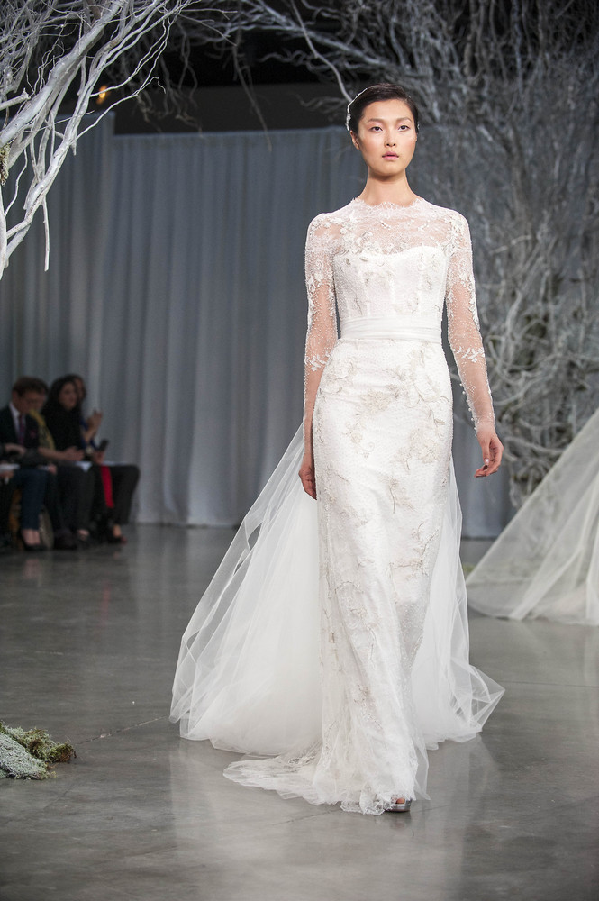 Long Sleeved Monique Lhuillier Fall 2013 Bridal Collection from New York Bridal Fashion Week