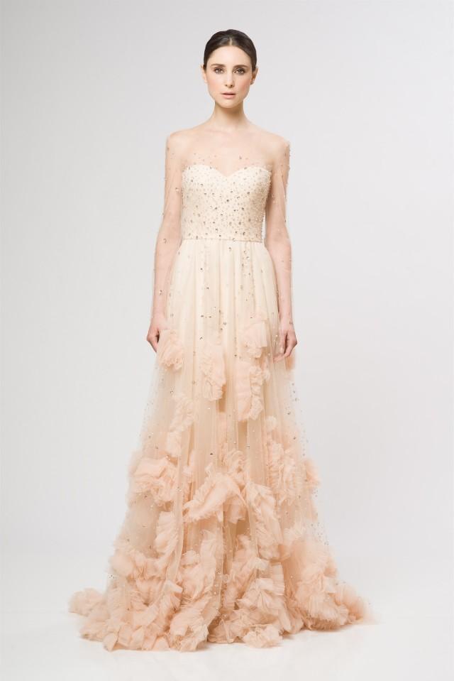 Reem Acra Resort 2013 Sparkle Blush Ombre Wedding-Dress