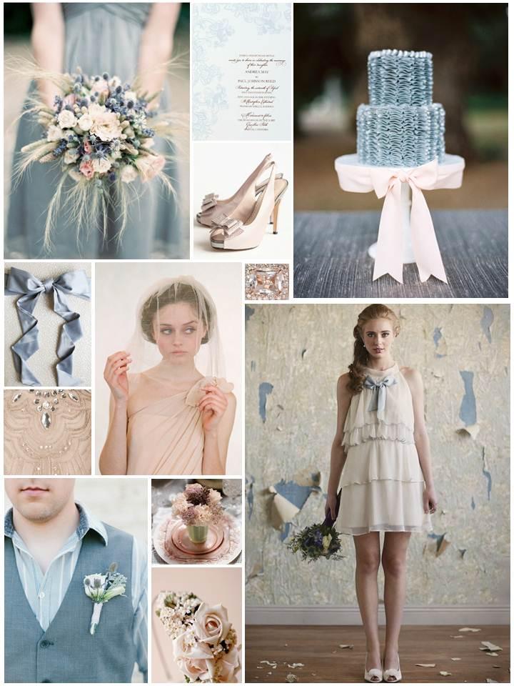 Spring Blush & Dusky Blue Wedding Inspiration Board