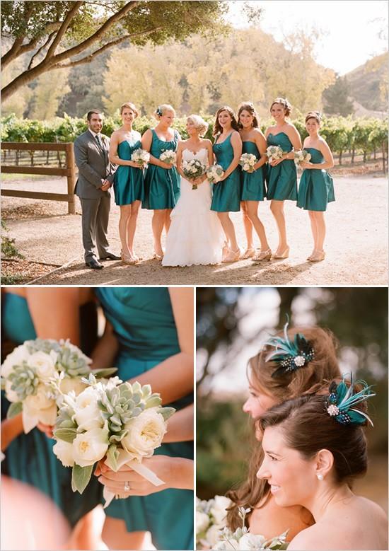 Bridesmaids in Emerald Dresses
