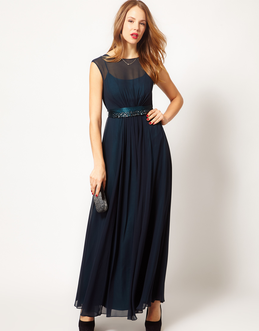 ASOS Coast Lori Lee Built Up Maxi Bridesmaids Dress in Emerald