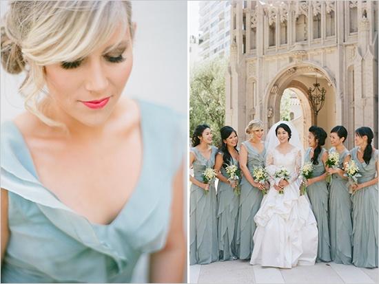 Bridesmaids in Greyed Jade Dresses