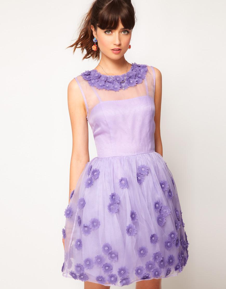 Silk Skater Floral Applique Dress in Violet from ASOS