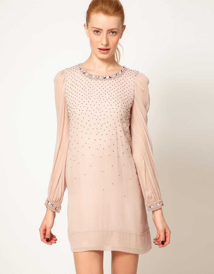 French Connection Embellished Shift Dress in Linen from ASOS