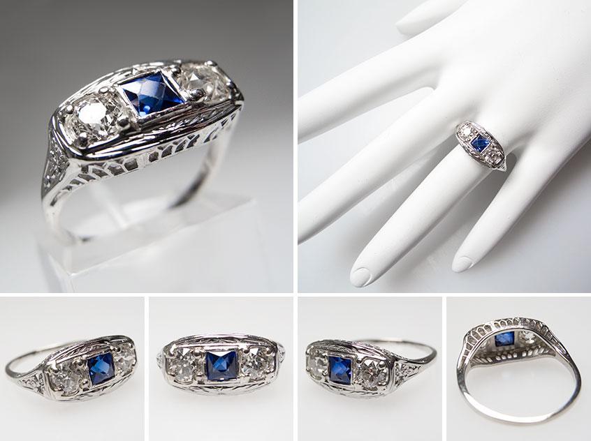 Antique Diamond Sapphire Filigree Engagement Ring wm7195