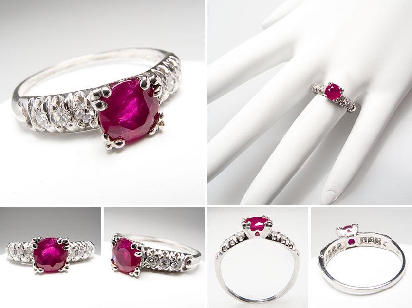 Antique Ruby Diamond Engagement Ring wm7393