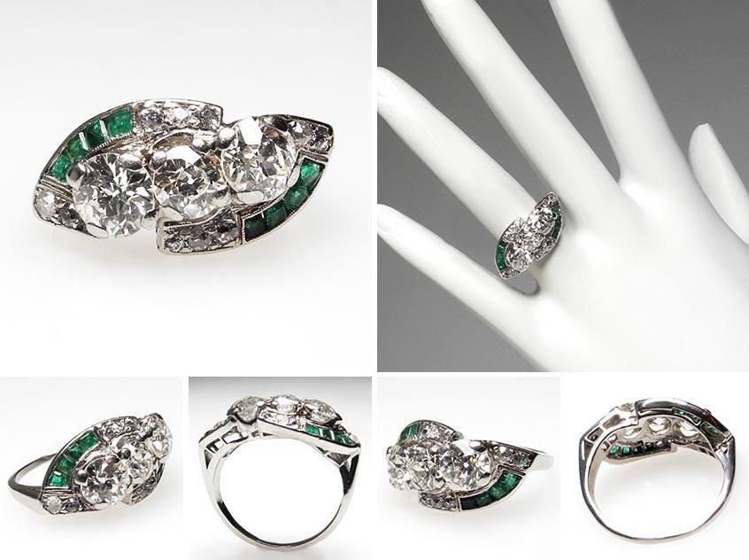 Art Deco Antique Engagement Ring Emeralds wm7137