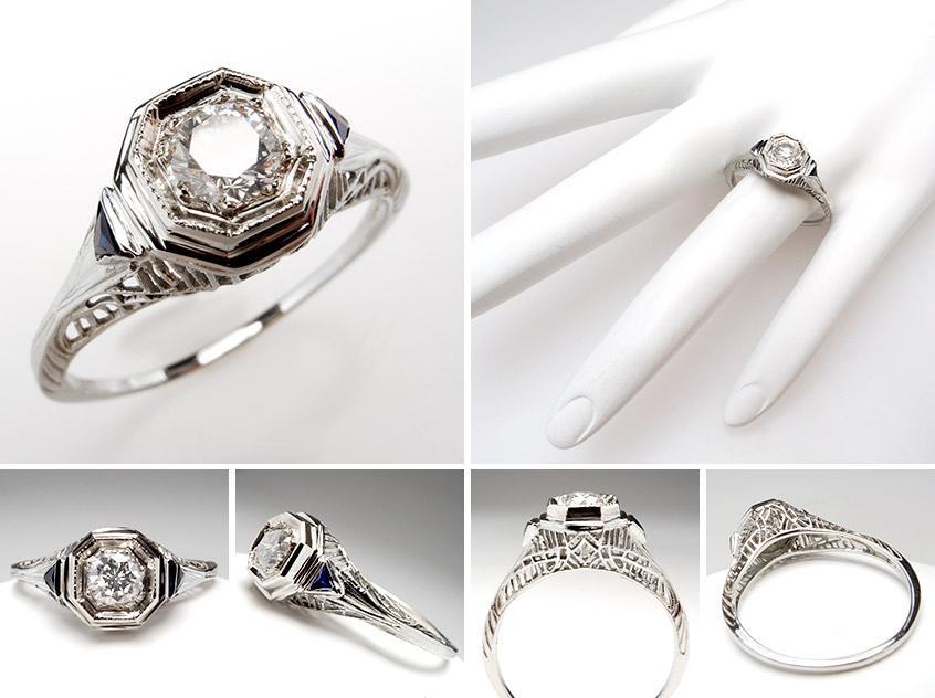 Art Deco Diamond Sapphire Engagement Ring wm7592
