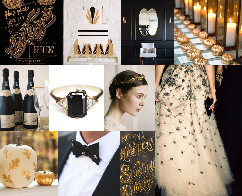 Black & Gold Halloween Wedding on Snippet & Ink