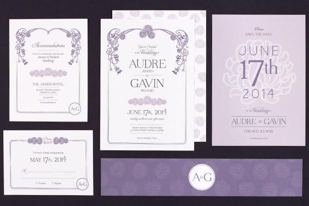 Floral Nouveau Wedding Stationery Suite from Love vs Design
