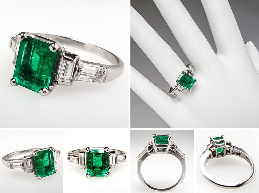Emerald Diamond Engagement Ring br0046