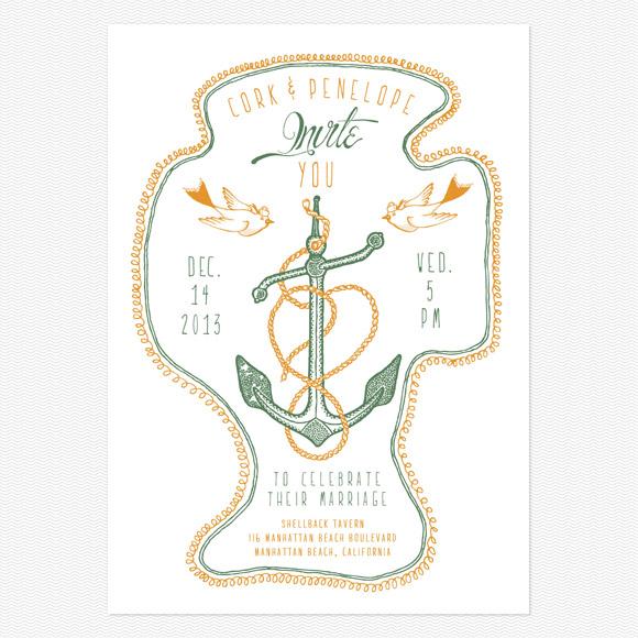 Anchorsaway Wedding Invitation from Love vs Design