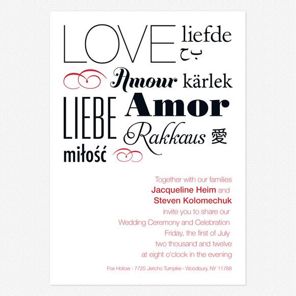 Language Of Love Wedding Invitations from Love vs Design