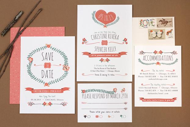 Modern Vintage Wedding Stationery from Love Vs Design Chic