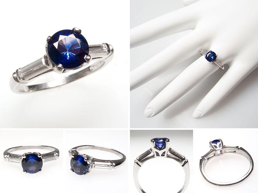 Sapphire Baguette Diamond Engagement Ring wm7351