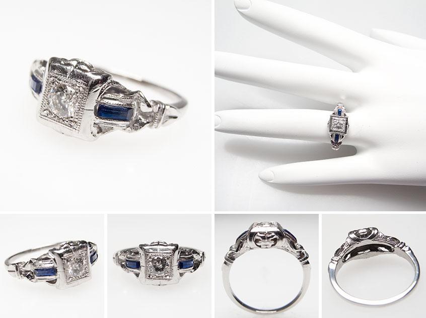 Vintage Diamond Sapphire Engagement Ring wm7219
